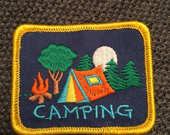 Square Camping Patch (1) - tent campfire trees scout fun