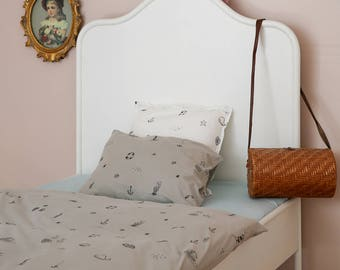 Kids Bedding, Toddler Bedding, Nautical Gray Kids Bedding Set - Twin Size Toddler Duvet Cover, Toddler Pillowcase & Toddler Fitted Sheet