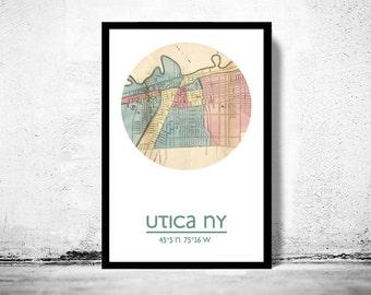 UTICA NY - city poster - city map poster print