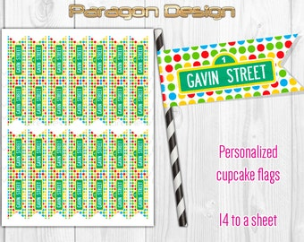 Street Sign - Personalized Cupcake Flag Toppers, Party Paper Flags, Straw Flags - DIY Printable Digital File