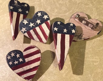 American Flag Heart Hand Painted Pins (or Magnets) Stars and Striped Americana Gift Patriotic Patriot 4th of July Independence Day