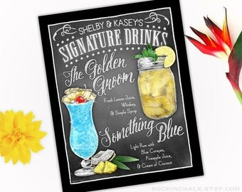 Country Wedding Decoration | Signature Drink Sign - DUAL DRINKS - Personalized  Weddings, Parties, Events - Made to Order - All Custom