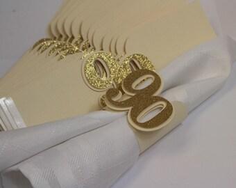 Gold Glitter 90 Napkin Holders, 12pcs