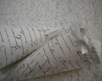 10x Confetti cones, wedding cones, love script pattern, confetti cone emporium,  wedding confetti cones, petal cones, vintage cones