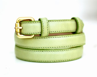Free shipping! Leather belt, green leather belt, light green belt, womans belt, waist belt, green leather belt, belt for pants