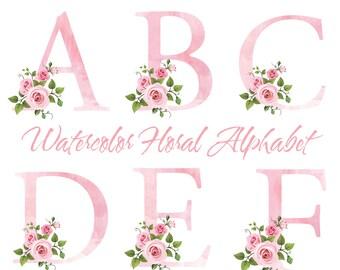 Watercolor Alphabet Clip Art, Watercolor Design Elements, Floral Alphabet