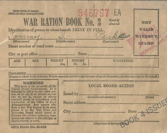 War Ration Book No3 WWII Era
