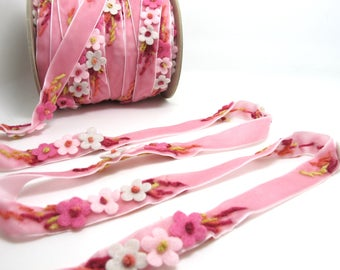 5/8 Inch Pink Felt Flower with Yarn Embroidery on Pink Velvet Ribbon|Sewing|Quilting|Craft Supplies|Hair Accessories|Necklace DIY|Costumes
