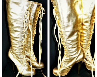 Gold LEATHER Super Platform Tall Lace Up boots / 90s Club Kid Fetish Boot / Thigh High Stripper Boots /  LEATHER 90s Gold Club Boots Sz 10