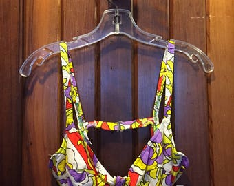 1970S // VACATION TOP // Accentuette Abstract Print Swimsuit Top