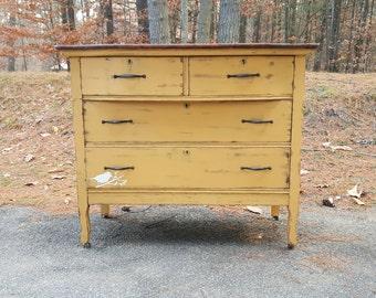 SOLD***Distressed Vintage Dresser, 4 Drawer Dresser, Vintage Nursery Decor, Entry Way Dresser, Vintage Bedroom Decor, Buffet Table