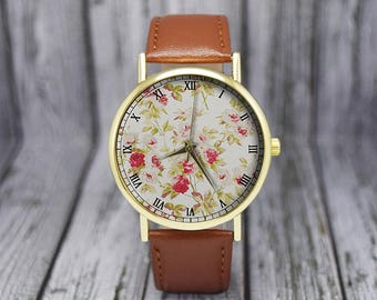 Vintage Rose Flower Pattern Watch | Floral Leather Watch | Women's Watch | Gift for Her |  Birthday | Wedding | Gift Ideas | Accessories