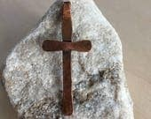 Copper - cross - crucifix necklace - Metal - pendant - leather cord - Handmade Artisan Jewelry