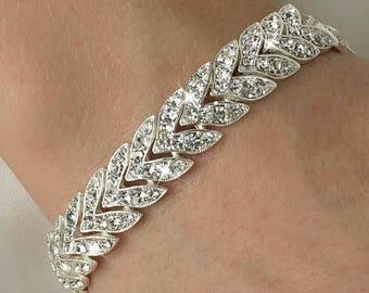 Silver Clear Chevron Rhinestone Bracelet Bridal Bracelet