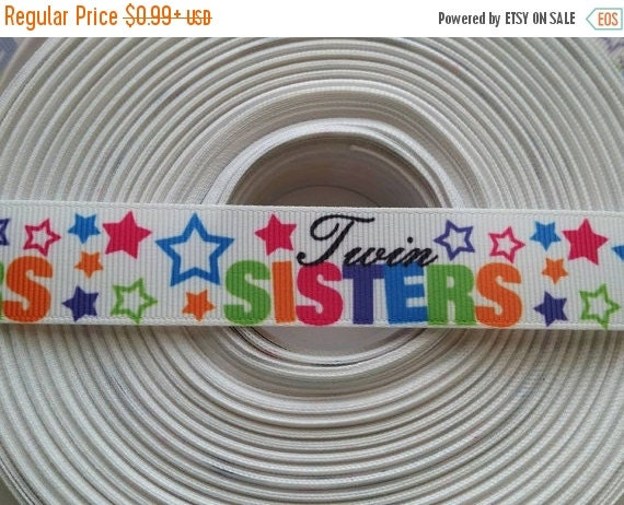 "SUPER SALE TWIN Sisters 7/8"" 22mm Grosgrain Hair Bow Craft Ribbon 782708"