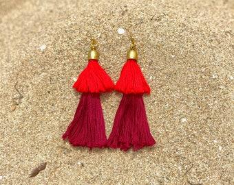 Red Earrings | Red Tassel Earrings | Double Color Tassel Earrings | Statement Earrings | Long Earrings