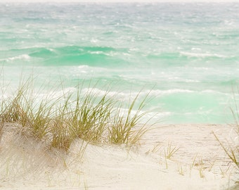 Dreamy Beach Florida Nautical Photography yellow green wall decor