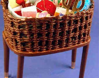 Filled wicker sewing basket - 1/12 scale dollhouse miniature