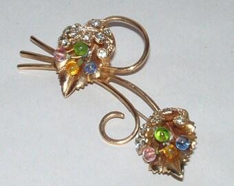 "Vintage 1950's Rhinestones Glass Inserts Double Leaf & Flowers 3"" Brooch"