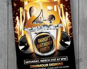 25th Birthday Invitation - 30th Birthday Invitation - 21st Birthday Invitation - 50th Birthday Invitation