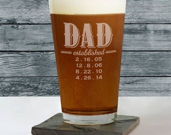 Personalized Dad Glass, Father's Drinking Glass, Custom Glass