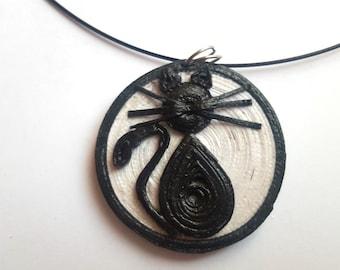 Black Cat quilling Pendant