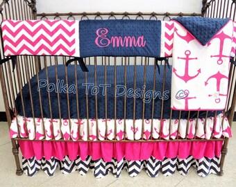 Nautical Navy & Hot Pink Bumperless Baby Bedding w/Teething Rail Guard: Leeward