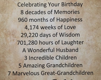 "80th Birthday Gift Personalized Print 8.5"" x 11"" Idea for Mother Father Mom Dad Grandma Grandpa Wife Husband 1937 Gift Idea Milestone"