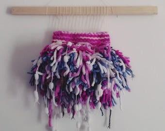 Woven wall hanging arazzo da parete wall decor fiber art fucsia