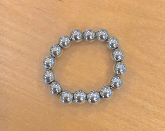 TOE RING stretch ring silver metal balls Summer Jewelry