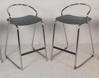 Set of Four Mid-Century Modern Stools with Chrome Frame (8563)NJ