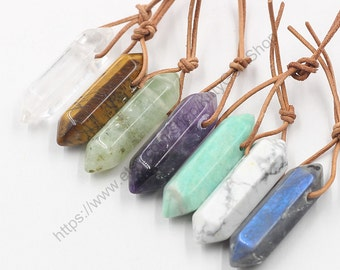 Natural Stone Point Pendants -- Charms Wholesale Supplies MHA-020