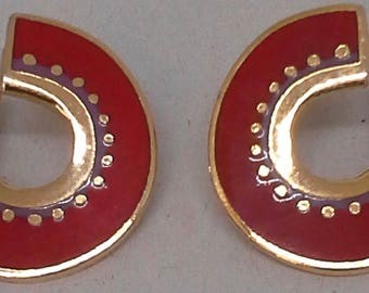 "Laurel burch ""Hitoshi"" stud earrings enamel red and purple on gold plated"