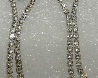 Vintage 1970's clear rhinestones silver plated stud, dangled earrings
