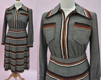 Vintage 70s Brown Striped Wool Knit 2 Piece Skirt Suit • Orange • Brown • Knitted Suit