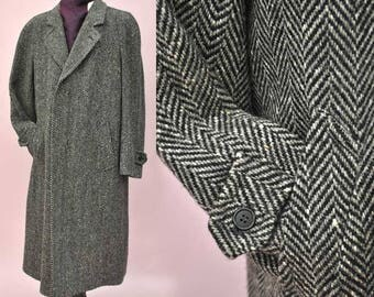 Mens Vintage Grey Herringbone Wool Tweed Overcoat 42""