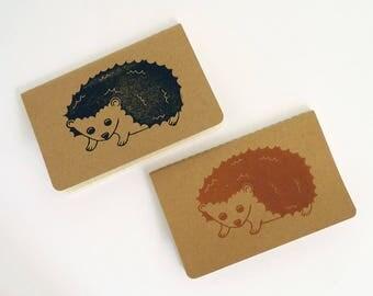 Hedgehog notebook, hand printed linocut pocket journal