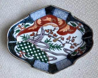 Antique Japanese Hand Painted Imari Porcelain Oblong Boat Shape Dish
