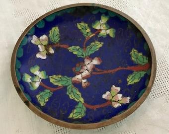 Chinese Antique Cloisonne Enamel Blue Plate