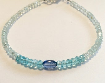 Aquamarine and kyanite bracelet, ombre blue bracelet, March birthstone bracelet, aquamarine kyanite and apatite stacking bracelet,
