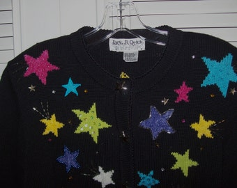Vintage Jack B Quick Starry Starry Night Sweater - Knitted Stars Too ! Size Medium