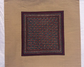 """Hand-embroidered cushion cover, 16""""x16"""", Neran community, from Gujarat, India"""