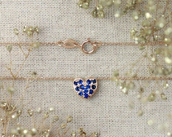 Petite Blue Sapphire Heart Necklace | Pave Setting | 16-18 Inches | 8x8 Face Dimension | Solid 14K Gold | Fine Jewelry | Free Shipping