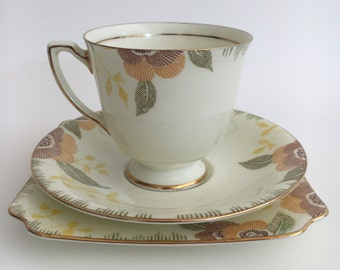 Royal Doulton Nerissa V1723 Trio Art Deco  1930s Teaset