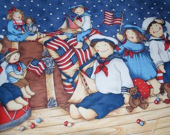 Rag Doll Patriotic Toy Flag Stars Fabric 4th of July by Debi Hron for Hi Fashion Fabrics By The Yard 1998