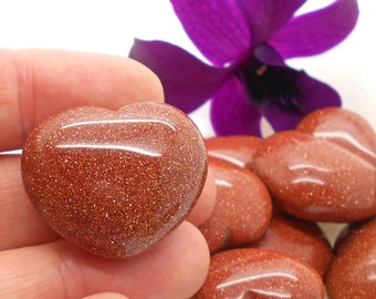 Polished Goldstone Heart for Metaphysical Work, Reiki, Energy Work, Affirmations, Love, Little Gift, Valentine, I Love You, Heart