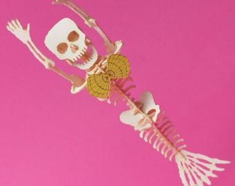 Mermaid Tiny Skeleton Bare Bones - Paper Puzzle Sculpture Model