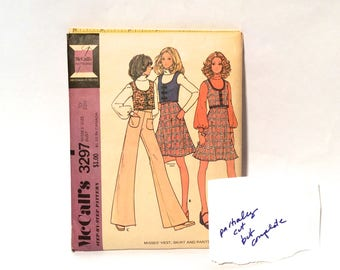 Vintage 1970s McCall's 3297 Short U Neck Vest, Flared Skirt and Wide-Leg Bell Bottom Pants Sewing Pattern