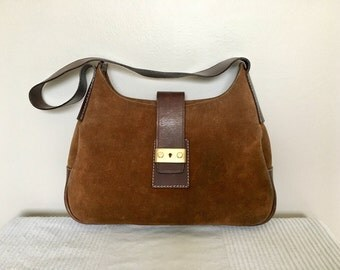 Vintage FRANCESCO BIASIA Brown Suede with Leather Trim Satchel Shoulder Bag Purse