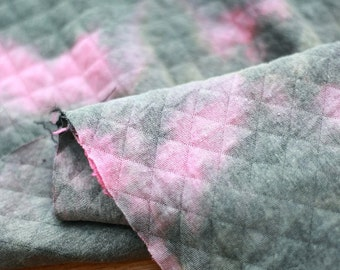 Quilted Knit Fabric Watercolor Grey Pink By The Yard